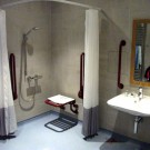 Wet room in adapted lodge at Longleat